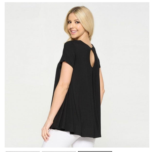 Black Flowy Tunic Top