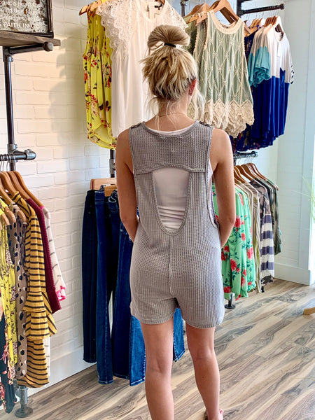 Grey Button Romper