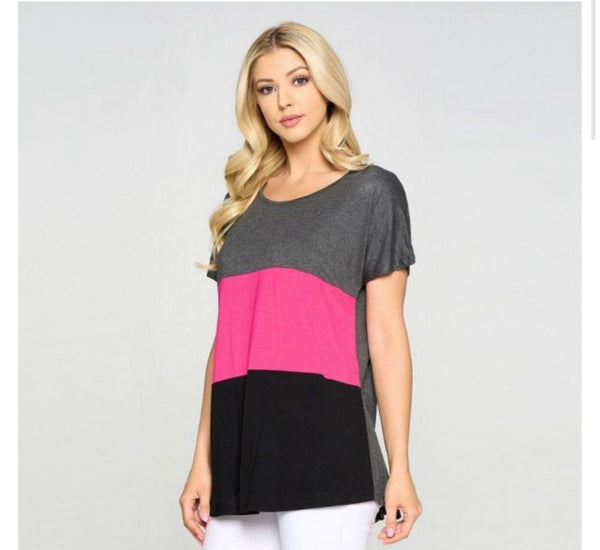 Hot Pink Color Block Top
