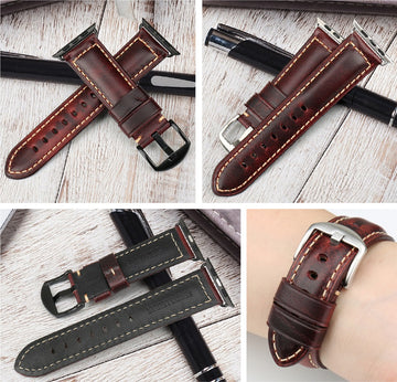 Dark Red Oil Wax Leather Band