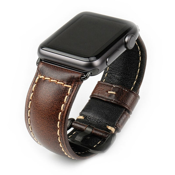 Dark Brown Oil Wax Leather Band