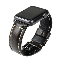 Light Black Oil Wax Leather Band