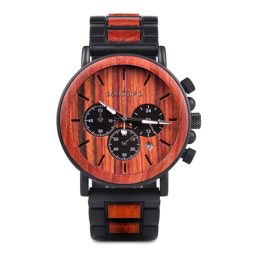 Smart Retro Military Wooden Watch with Chronograph