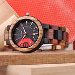 Neo-Dandy Wooden Watch with Date Window