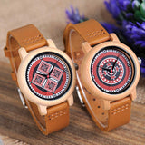 Authentic Patterned Bamboo Watch with Leather Strap