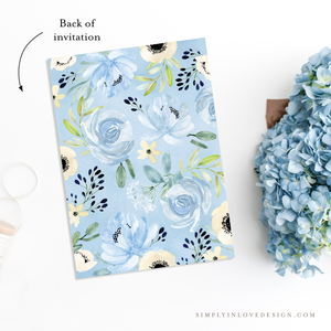 Blue Floral Shower Invitation