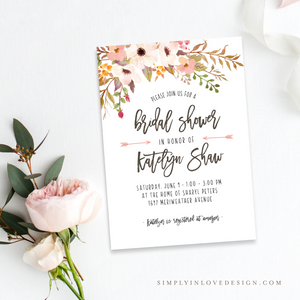 Blush Anemone Shower Invitation