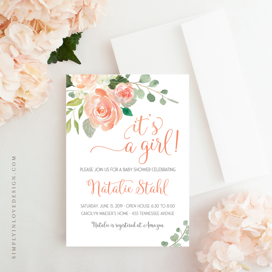 Peach Rose Shower Invitation