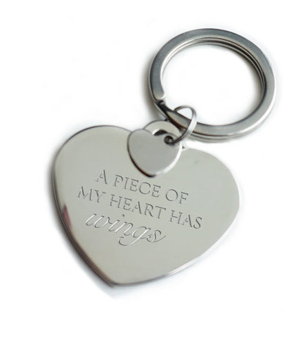 A Piece of my Heart has Wings Keychain