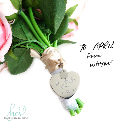 Handwriting Bouquet Charm