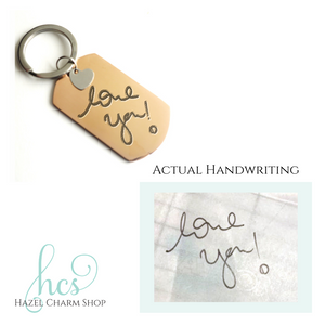 Handwriting Dog Tag Keychain