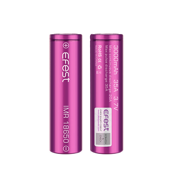 Efest IMR 18650 3000mAh 3.7V Flat Top Batteries (2 Pk)