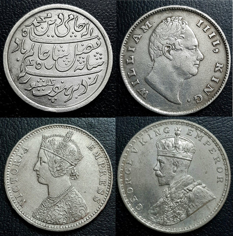 Silver Rupees of Madras Presidency, William IIII, Victoria and George V