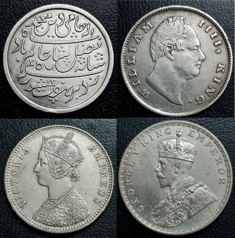 British India Coins, William IIII, Victoria Empress, Victoria Queen, Edward VII, George V, George VI, East India Company, 1840, 1835, Coins, Presidency