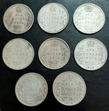 Edward VII 1 Rupee, Full Set, 1903-1910, Calcutta Mint