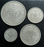 4 Coin set - 16, 8, 4 & 2 anna - George V