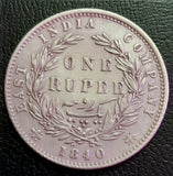 1840, 1 Rupee, Victoria Queen, Divided Legend