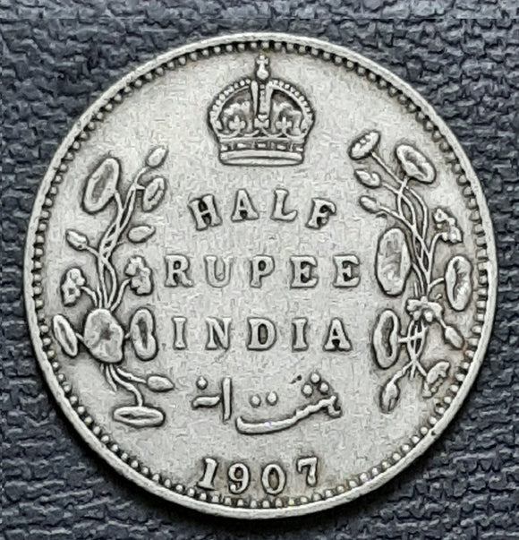 Half rupee, Edward VII, silver, British India