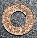 1 pice, bronze, coin, hole