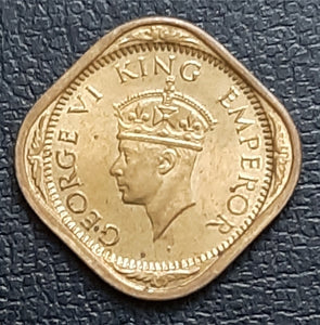 Half Anna, Brilliant, Uncirculated, Coin, George VI