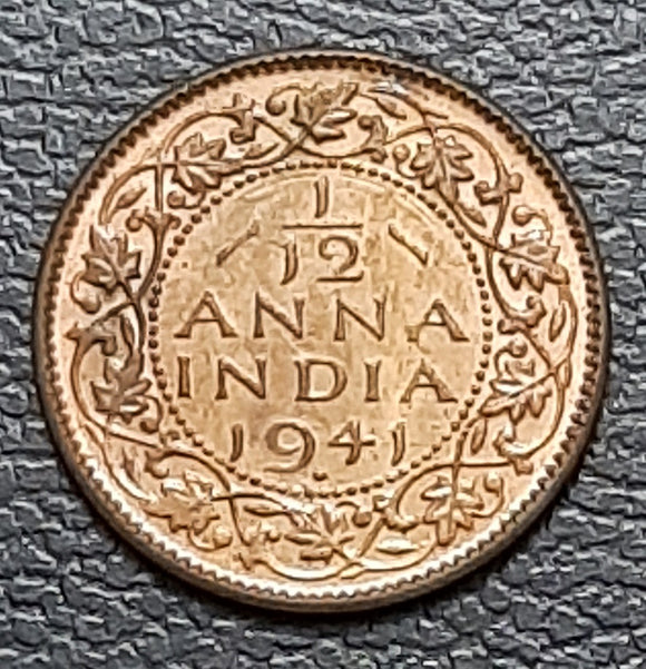 George VI, 1/12 Anna, 1941, Uncirculated, UNC