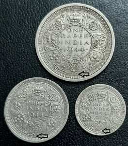 3 Coin Set, George VI, Lahore Mint
