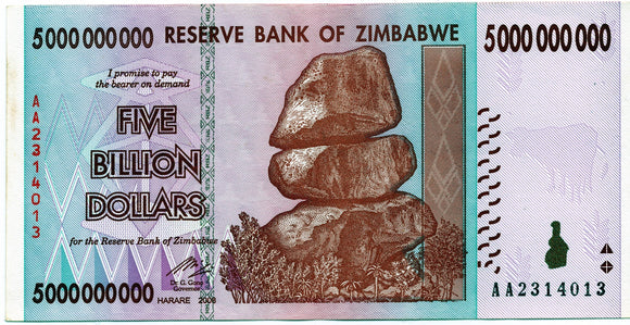 Zimbabwe 5 billion dollars