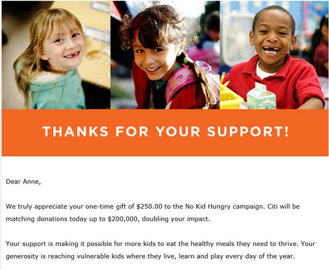 Donation to No Kid Hungry for Giving Tuesday