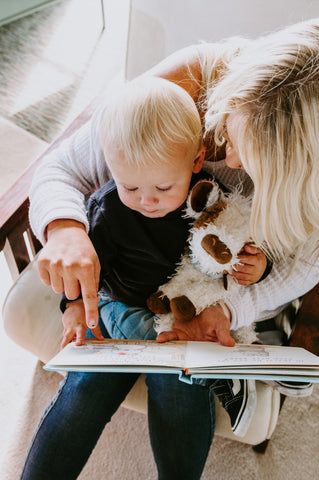 Baby and Mom Reading Book