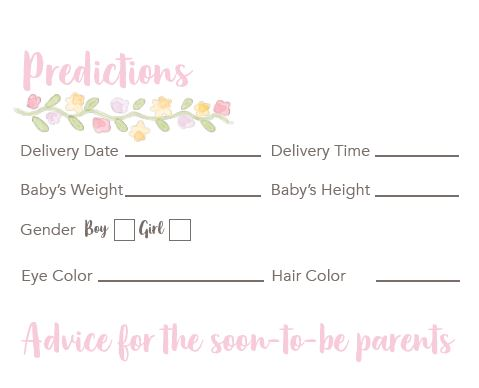 Baby Shower Predictions Game