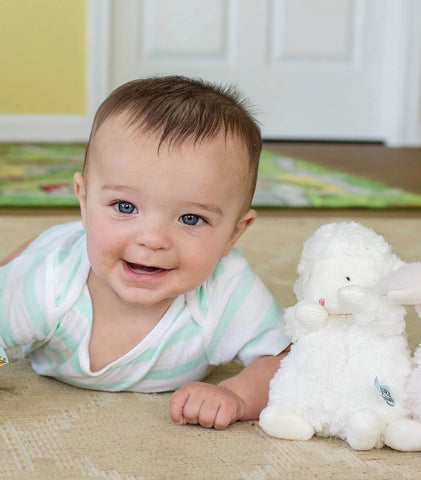 Wee Kiddo Lamb and Baby Boy Lifestyle Photo