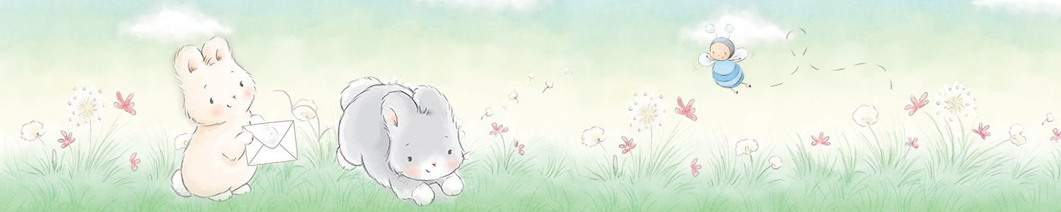 Illustrated bunnies in the grass, hopping with mail!