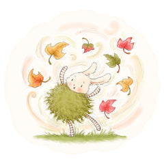 Fall Roly Poly Bunny in Leaves Art