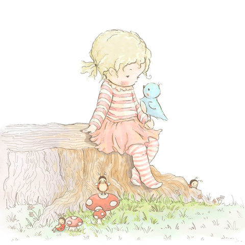 Elsie playing with ladybug friends on Cricket Island
