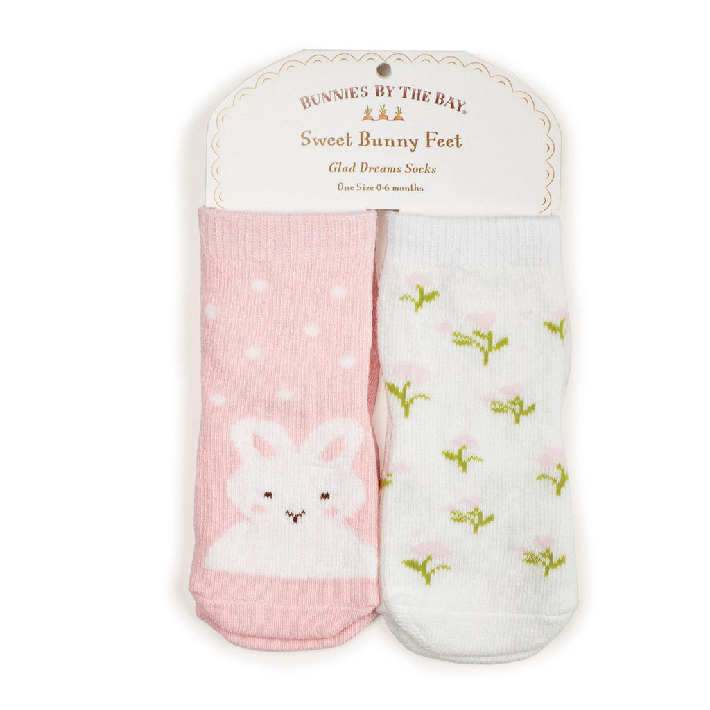 Image of Bunnies Do Delight Socks - 2 pair-Apparel-Bunnies By the Bay-0-6 months-Pink/White-bbtbay
