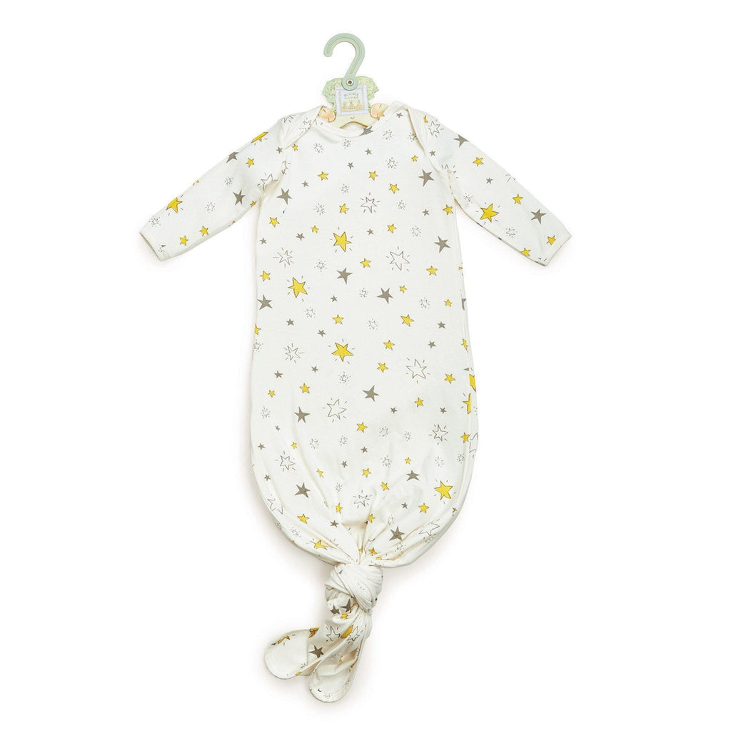 Image of Glad Dreams Knotty Nighty & Night Cap-Apparel-Bunnies By the Bay-0-3 months-Yellow Stars-bbtbay
