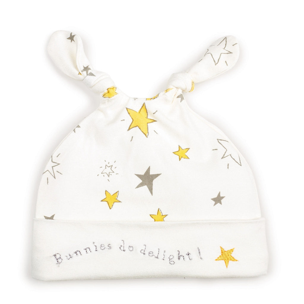 Glad Dreams Knotty Nighty & Night Cap-Apparel-0-3 months-Yellow Stars-Bunnies By The Bay