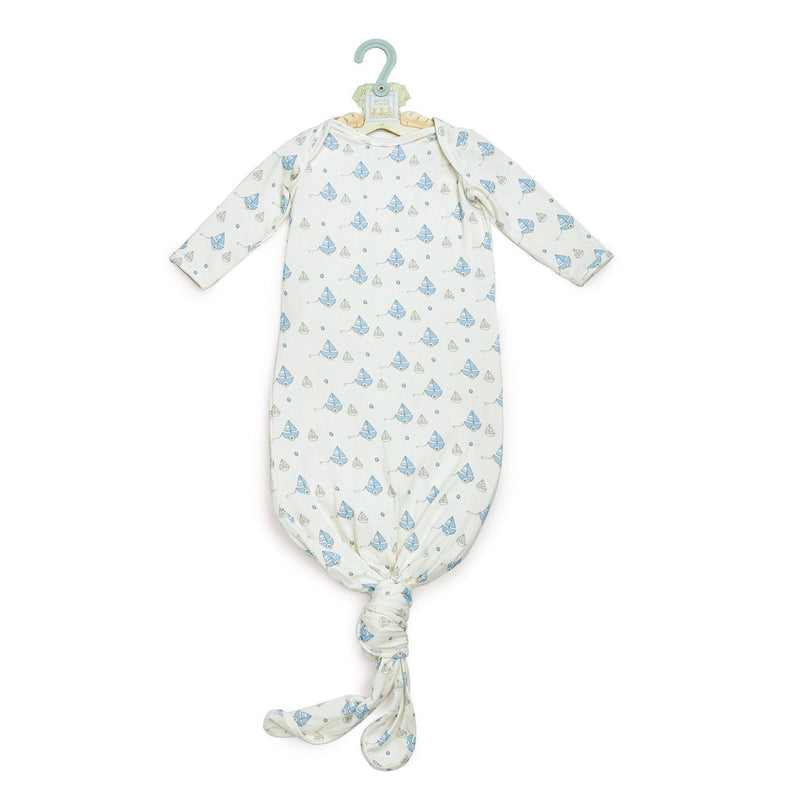 Image of Best Friends Knotty Nighty & Night Cap-Apparel-Bunnies By the Bay-0-3 months-Cream/Blue-bbtbay