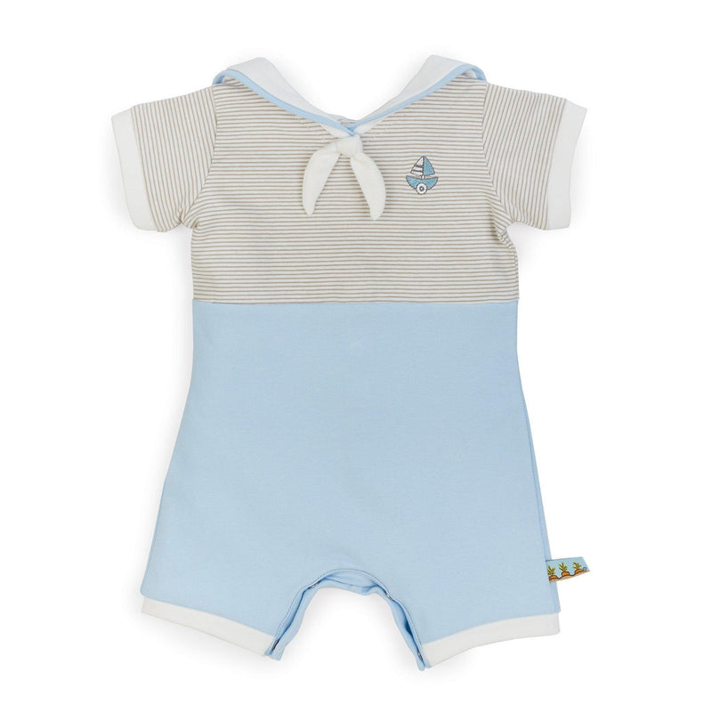 Image of Sailor Bud Bunny Romper-Apparel-Bunnies By the Bay-3-6 months-Blue/Grey Stripe-bbtbay