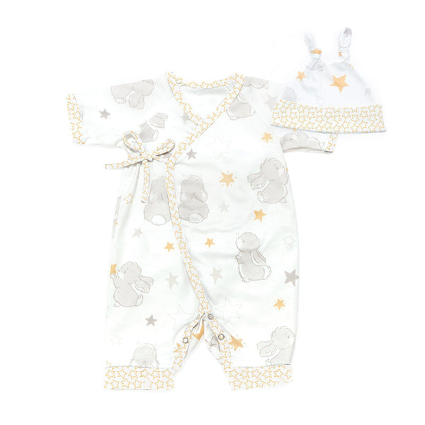 Bloom Bunny Kimono Romper and Hat Set-Apparel-SKU: 104324 - Bunnies By The Bay