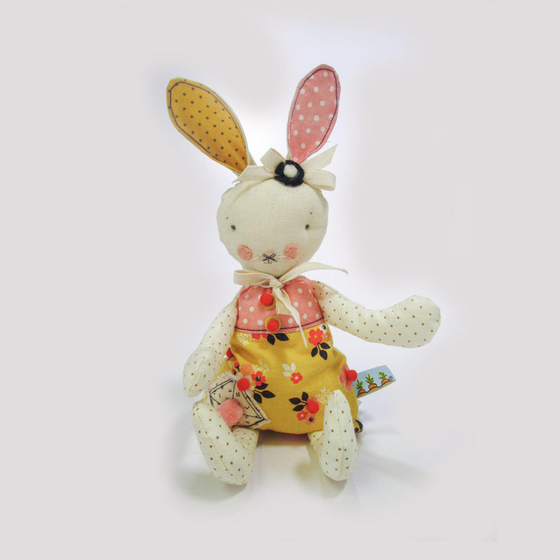 Retired - Hutch Studio - Yellow Floral Bunny - One Of A Kind Bunny-HutchStudio Original-SKU: HS6A - Bunnies By The Bay