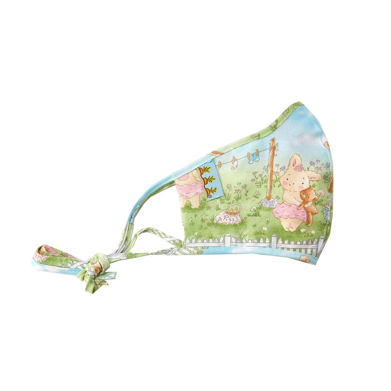 Adult Cloth Face Mask - Blossom Bunny Clothesline-Face Mask-SKU: 102143 - Bunnies By The Bay