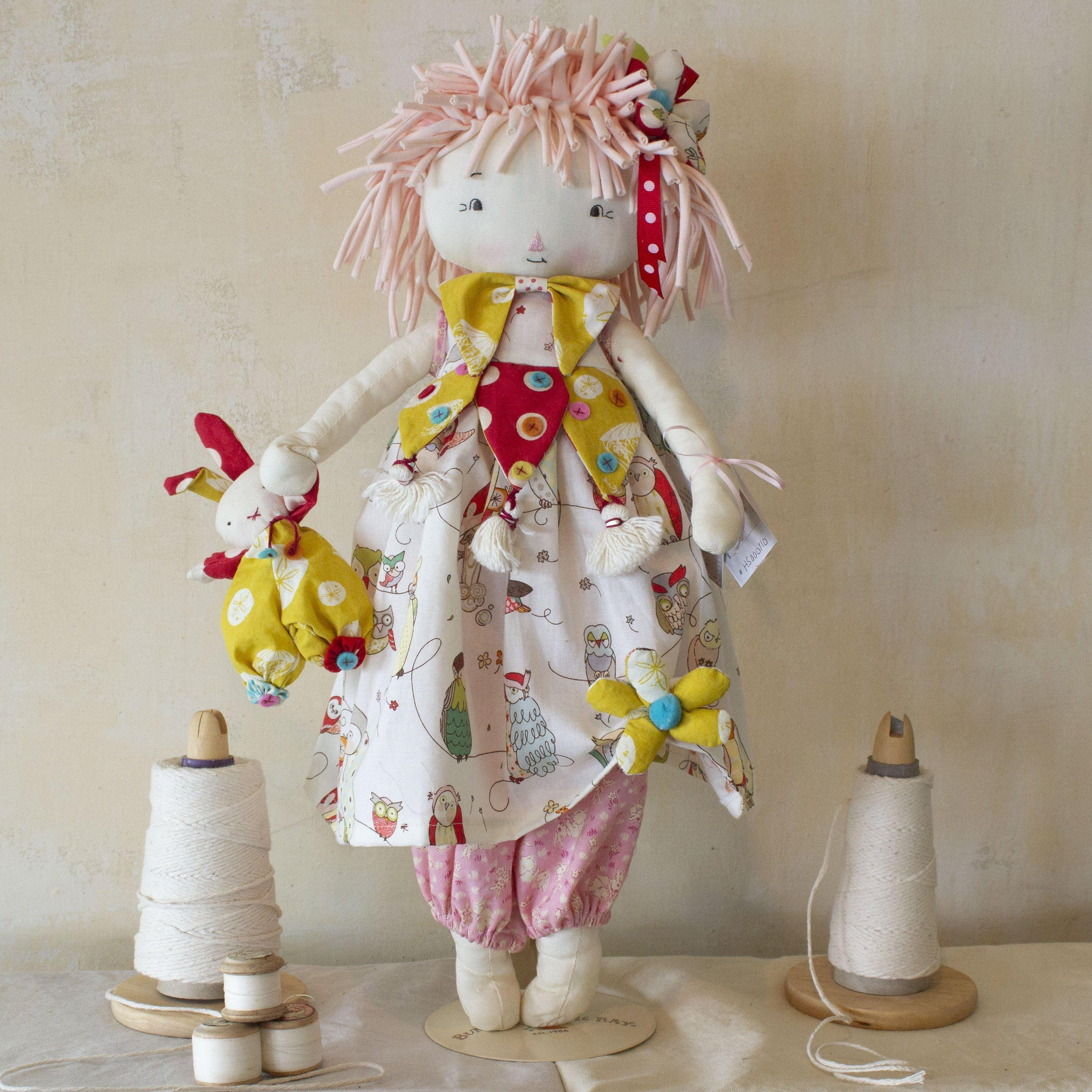 Hutch Studio -Bessie and Bundoll - Make and Mend One of a Kind Doll