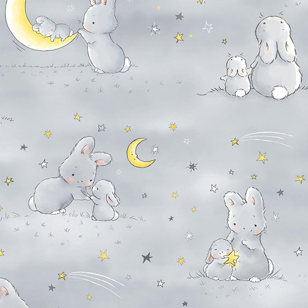 Fabric - Bloom Little Star Collection - Bunnies & Moons - 1/4 yard
