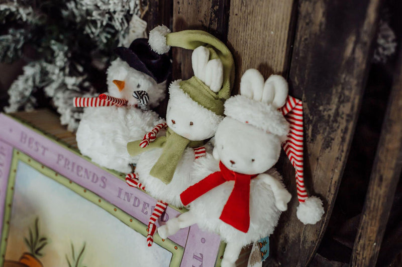 Snowman and snow bunny roly poly plush