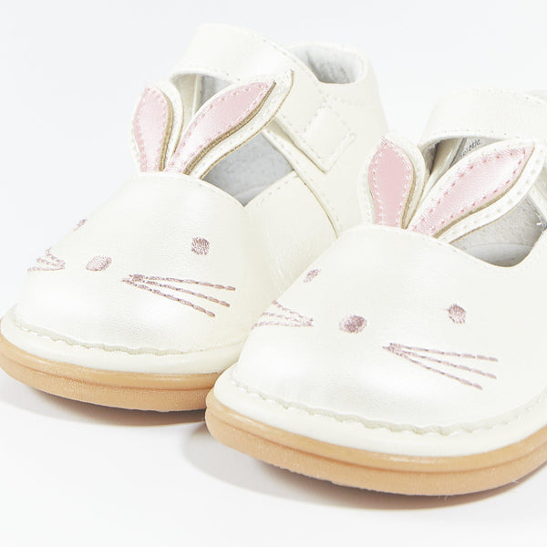 White Bunny Pearly Squeak Shoes-Shoes-SKU: - Bunnies By The Bay