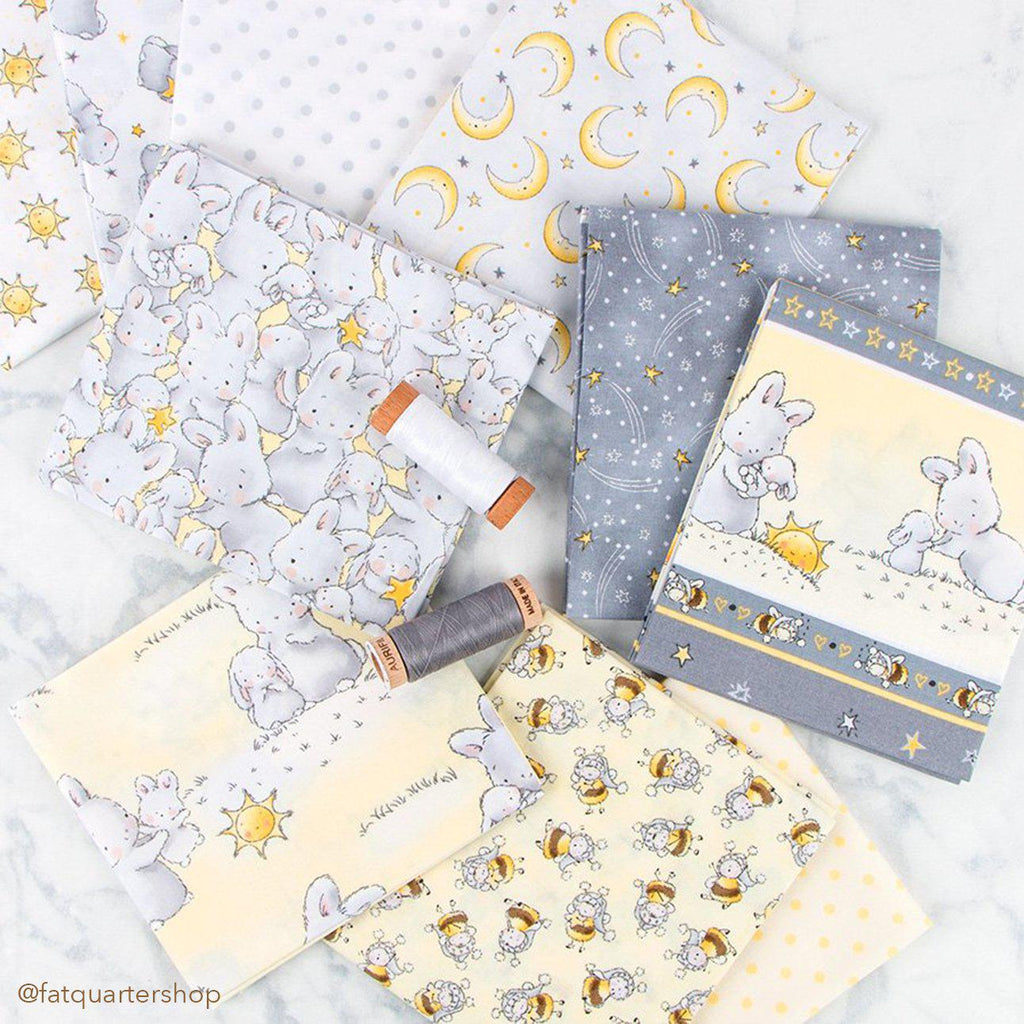 "Fabric - Bloom Little Star Collection - 11"" Bunny Stripe - 1/4 yard-Fabric-Bunnies By The Bay"