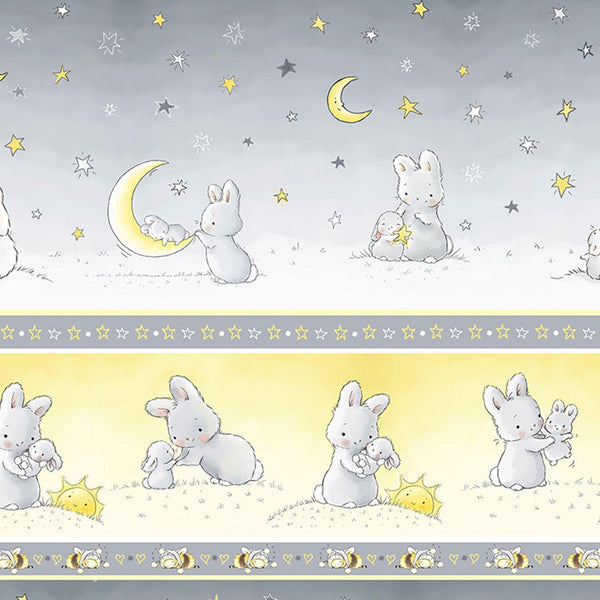 "Image of Fabric - Bloom Little Star Collection - 11"" Bunny Stripe - 1/4 yard-Fabric-Bunnies By The Bay-bbtbay"