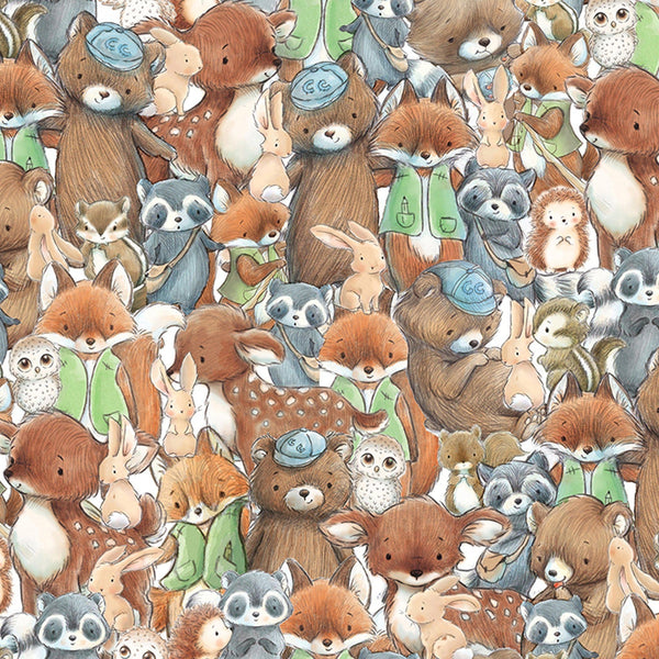 Image of Fabric - Camp Cricket Collection - Packed Forest Friends-Fabric-Bunnies By The Bay-bbtbay