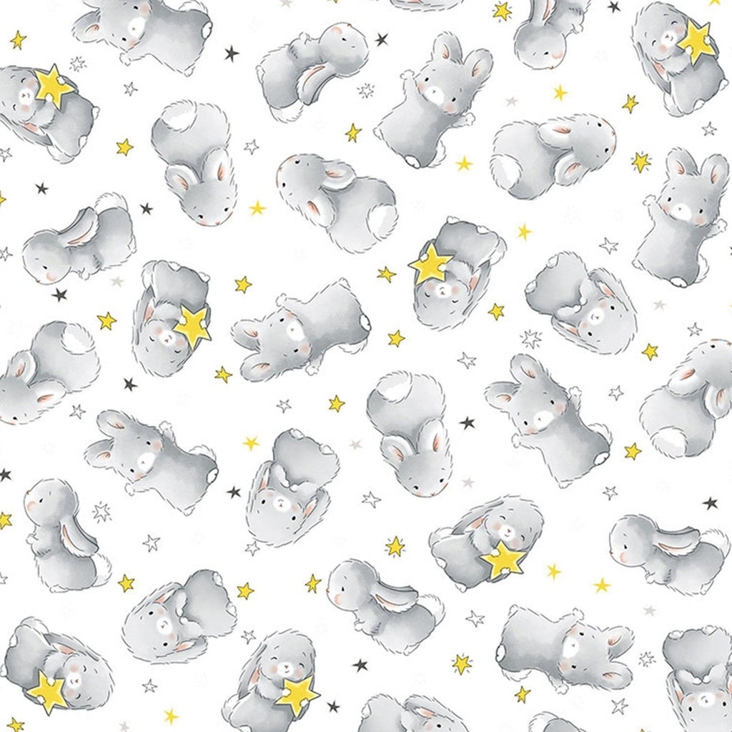 Fabric - Bloom and Little Star Collection - Happy Bunnies - 1/4 yard